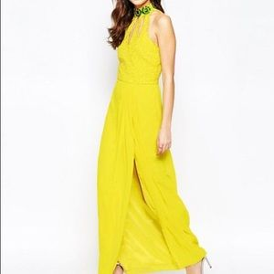 VIRGOS LOUNGE High Neck Gown with Cut-out Detail